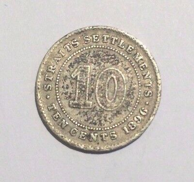 1896 Straits Settlements Silver 10 Cent Coin
