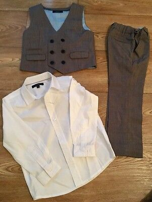 Autograph 3-4yrs Grey Waistcoat And Trousers With White Shirt