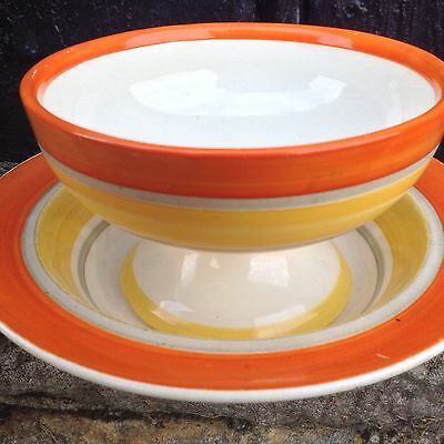 Vintage Gray's Pottery Art Deco Bowl & Plate Set Hand Painted Banded 1930's