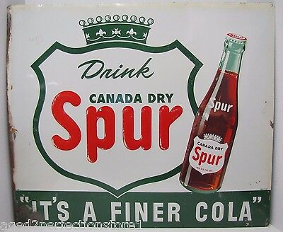 Original 1940s Canada Dry Spur Sign embossed soda advertising It's a Finer Cola