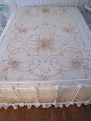 Pair of Vintage Antique French Tambour Embroidered Net Lace Coverlets