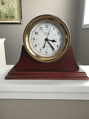 """Weems & Plath Ships Quartz Clock With Ships Bell 5 1/2 """" with with Wood Base"""