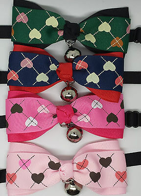 UK Adjustable Pet Cat Dog Teddy Doll Necktie Grooming Bowtie Mix Fashion Hearts