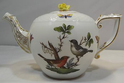 Vintage Herend Rothschild Small Teapot Birds Insects Butterflies Hungary