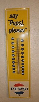 Say Pepsi Please Metal Thermometer Vintage Sign