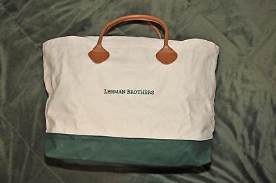 Lehman Brothers (W/g) Canvas Bag With Genuine Leather Handle ~ Very Rare ~ New!!