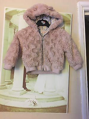 Girls Blue Zoo Coat Pink Fur  Age 18/24 Months 1 1/2 To 2