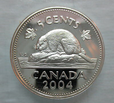 2004 Canada 5 Cents Proof Silver Nickel Coin