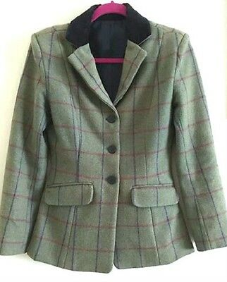 Bnwt Childs Sherwood Campolino Green Pure Wool Tweed Showing Jacket Sizes 24-28
