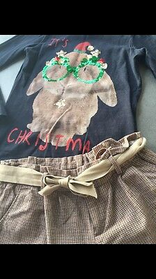 Lovely Xmas Outfit! Girls Next Christmas Top & Zara Tweed Shorts Age 5-6