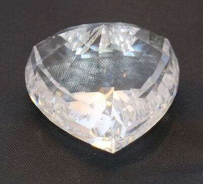"""1996 Limited Edition SWAROVSKI Clear CRYSTAL HEART 3-D Renewal 1.5"""" Paperweight!"""