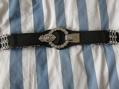 Unbranded Ladies Smart Belt Black/Silver with Circular Clasp