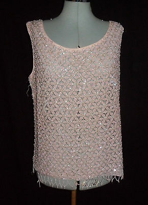 Vintage Gorgeous 60's Pink Beaded Fringe Top