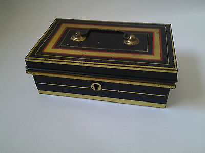 Vintage metal red,black,gold petty cash box tin with inner tray