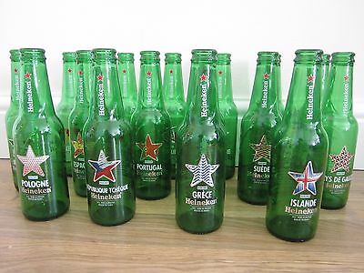 Heineken bottles x 16, with different country names (empty), 25 cl
