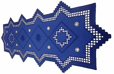HARDANGER NEW BEAUTIFUL  HANDCRAFTED tabel runner blue with some gold 35 ' x 16