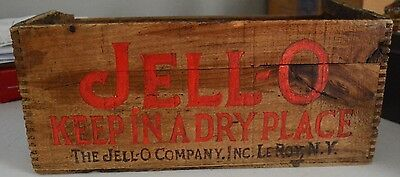 Jell-O, Wooden Shipping Box, Leroy, NY, Dovetail, Antique Advertising Crate