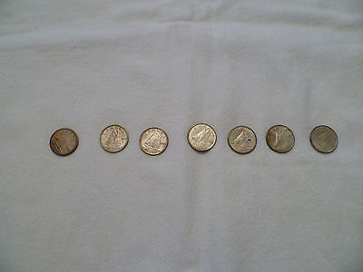 canadian dimes lot of seven