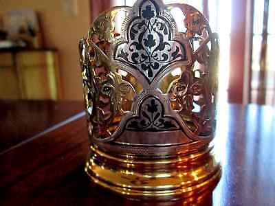 Vintage Russian Soviet USSR Glass Cup Holder Niello GoldGilt Sterling Silver 875