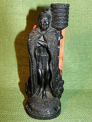 Vintage 1979 Hawaii Coco Joe's King Kamehameha I w/Tiki Torch Lava Figurine #121