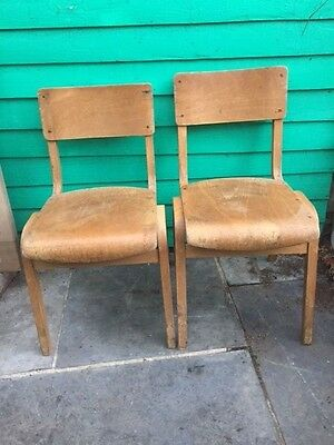 Vintage Plywood School Chairs x 2