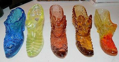 5 Fenton Glass Shoes, Slippers, Cat Head, Daisy & Bottons, w/Tags, Great Colors