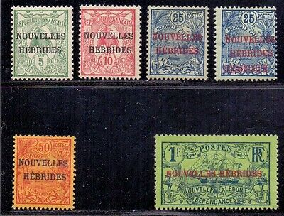 New Hebrides - French issues. Set of 6 LH Mint stamps. Issued 1906