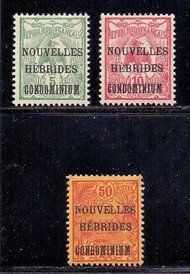 New Hebrides - French issues. 3 LH Mint surcharged stamps. 1910/1911
