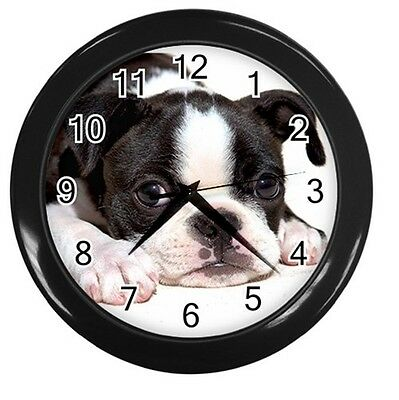 NEW BOSTON TERRIER PUPPY DOG 10inch ROUND WALL CLOCK HOME OFFICE DECOR 89228744