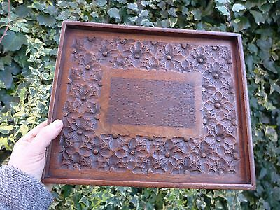 Antique wooden tray with beautiful carved details tudor roses hobby collector