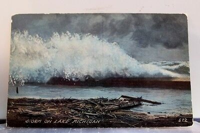 Scenic Storm Lake Michigan Postcard Old Vintage Card View Standard Souvenir Post
