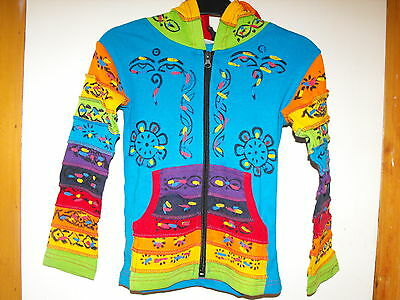 Children boy girl hippie festival handmade Nepal blue pixi hood jacket large NEW