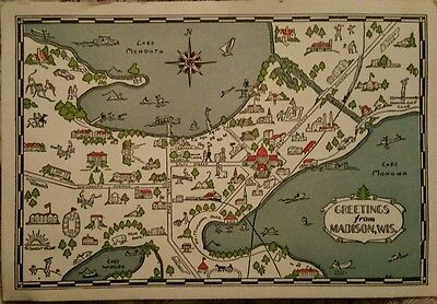 Madison, Wisconsin  MAP Cool Art Large Size  Vintage Postcard