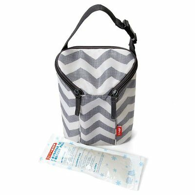 Skip Hop Grab and Go Double Bottle Bag, Insulated Ice Pack Grey Zipper Chevron