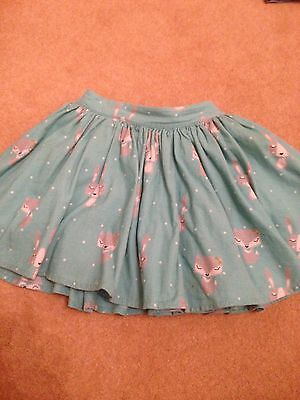 GIRLS TURQUOISE CORD SKIRT WITH FOX PRINT AGE 2-3 yrs M & S