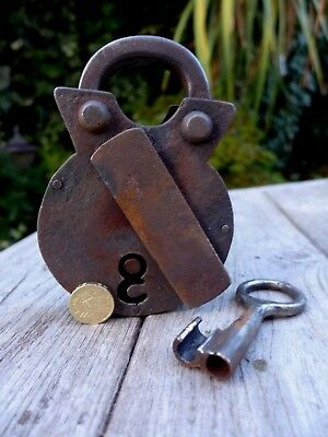 Antique Padlock with one key, working order, hobby collector made by blacksmiths