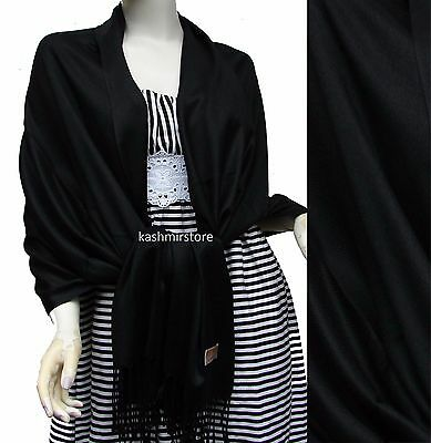 NEW Solid 100%Pashmina Wrap Stole Cashmere Wool Shawl/Scarf Soft Black #e308y