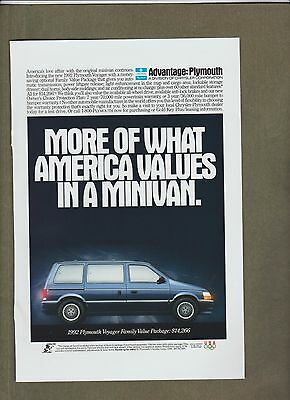 1992~Plymouth~Voyager~Vintage Ad