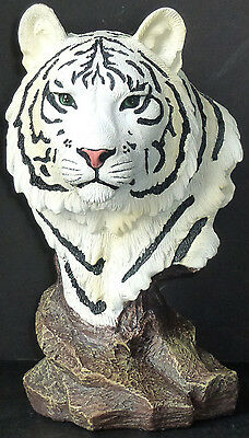 """TUNDRA   Small White Bengal Tiger Bust   Statue Figurine  H9"""""""
