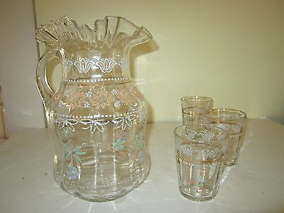 Victorian Set Enamel Painted Glass Pitcher 3 Tumblers