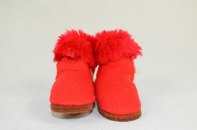 Red Boots with Fur Christmas Tree Ornament new winter snow shoes