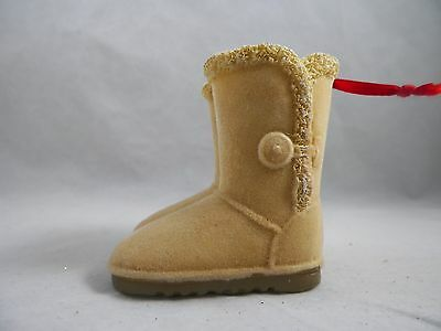 Tan Flocked Boots Christmas Tree Ornament new holiday