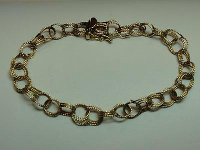 Beautiful 14 Kt Yellow Gold Textured Circle Link Bracelet - 6.8 grams