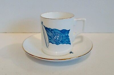 United Nations Souvenir Demitasse Cup & Saucer Taylor & Kent Bone China c 1950