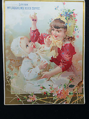 LARGE  McLAUGHLIN'S COFFEE TRADE CARD GIRL AND BABY