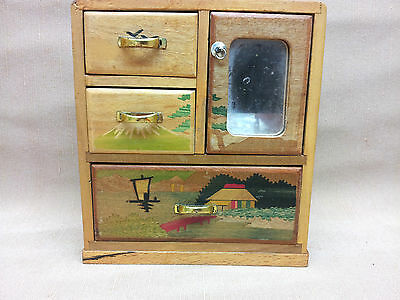 Antique 20s Japanese Apprentice Marquetry Tansu Inlaid Wood Jewlery Box Cabinet