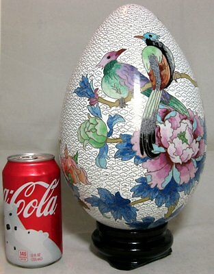 """12"""" Chinese Export Cloisonne Enamel Egg With Birds & Floral on Wood Stand"""