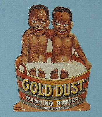 Victorian Advertising Trade Card Gold Dust Twins in Wash Tub Black Americana