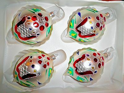 VINTAGE CHRISTMAS glass TEAR DROPS TULIPS ORNAMENTS handpainted boxed