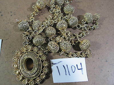 Vintage TAMBOURINE Necklace from Philippines 16 inches  AsIs T1104